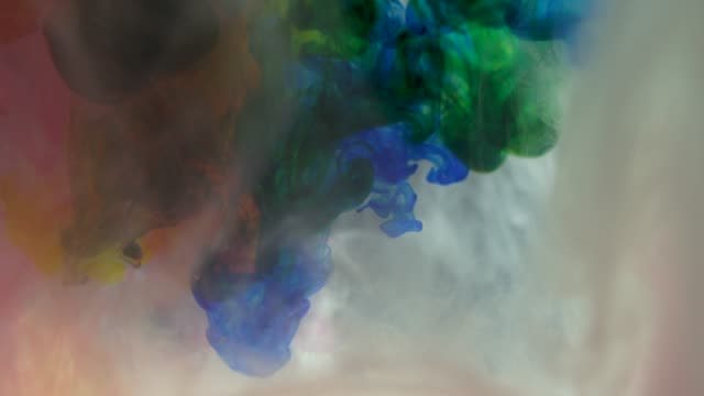 Creative Colorful Ink In Water Mixing Together video