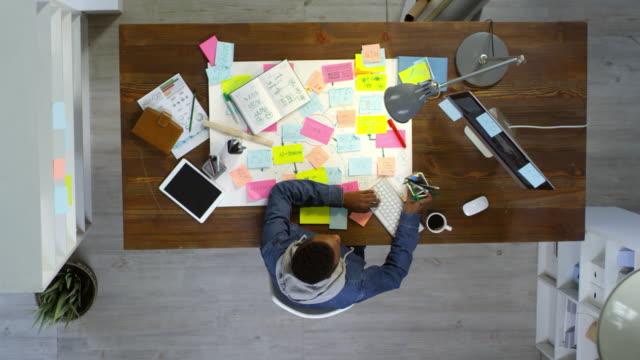 vídeos de stock, filmes e b-roll de empreendedor criativo trabalho no escritório de planejamento - fazer serão