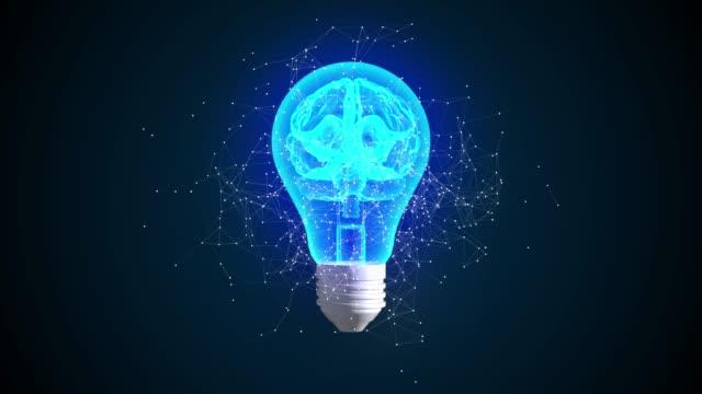kreativ idé koncept. hjärna i glödlampa animation 3d. symbol för innovativ lösning. - rådig bildbanksvideor och videomaterial från bakom kulisserna