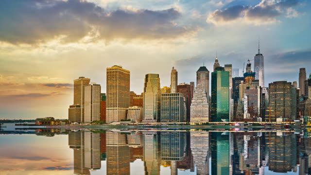 Creative Manhattan Downtown. Reflaction. Sky. Sun.