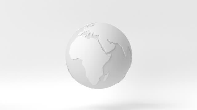 vídeos de stock, filmes e b-roll de ideia criativa de papel mínimo. conceito mundo branco com fundo branco. renderização 3d, ilustração 3d. - clip art