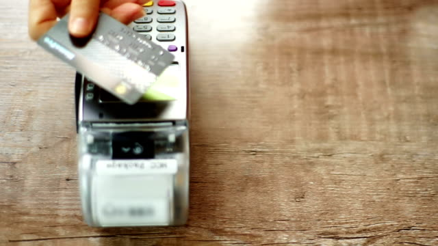credit card payment with nfc technology in cafe. - contactless payment stock videos & royalty-free footage