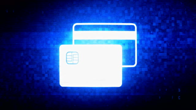 Credit Card Symbol Digital Pixel Noise Error Animation. Credit Card  Symbol Abstract Digital Pixel Noise Glitch Error Video Damage Signal Loop 4K Animation. banks and atms stock videos & royalty-free footage