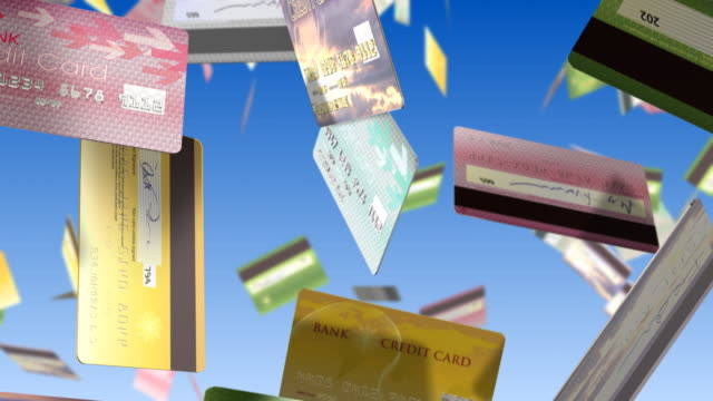 Credit cards falling. Loopable. video