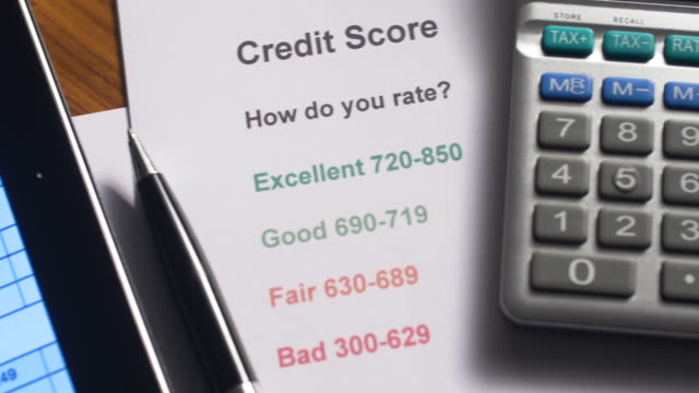 Credit Score document 4K Resolution credit card purchase stock videos & royalty-free footage