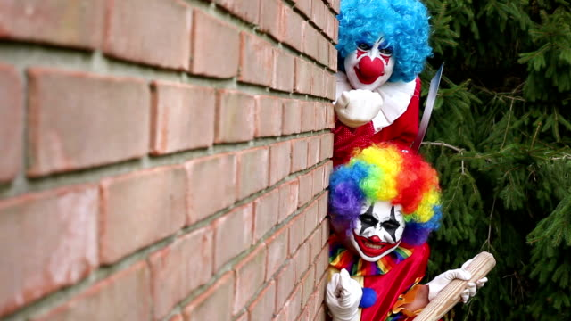 Creepy Clowns Hiding Around Corner video