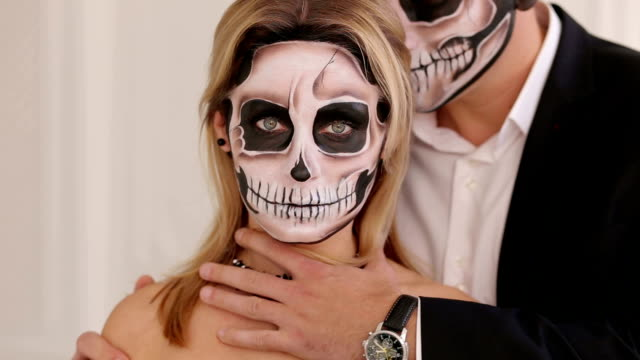 Creepy Scary Halloween Makeup.Creepy Couple With Scary Halloween Makeup In Vintage