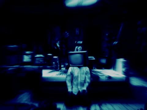 creepy laboratory with tvhead zombies video