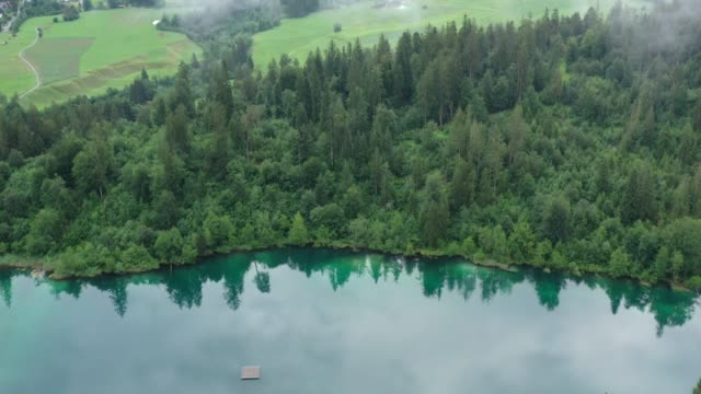 Crestasee lake, aerial view take with drone in summer time