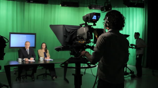 Crew in television studio video