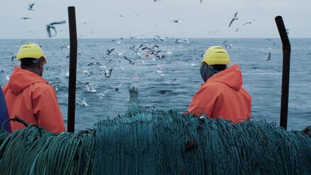 die besatzung der fischer wird auf dem kommerziellen fischschiff arbeiten, das das trawl netz zieht - netzgewebe stock-videos und b-roll-filmmaterial
