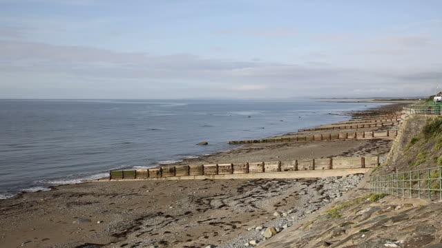 Criccieth beach and sea North Wales UK coast town video