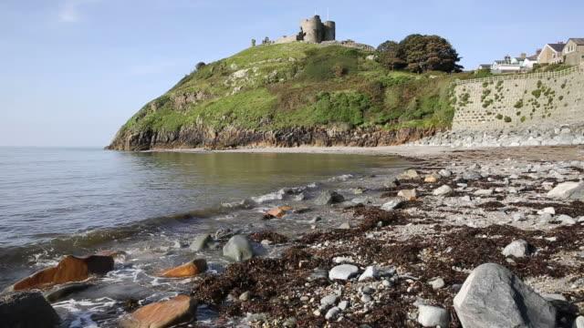 Criccieth beach North Wales UK coast town in Gwynedd south of Caernarfon video