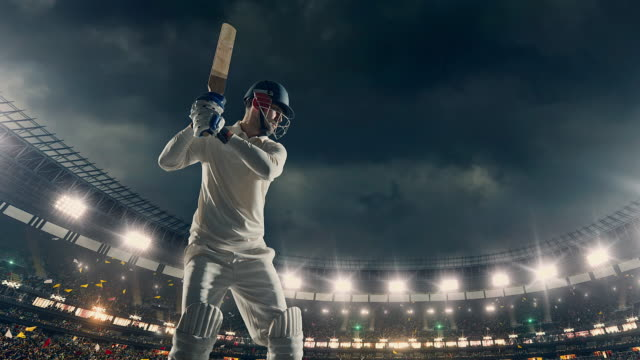 Cricket batsman on the stadium video