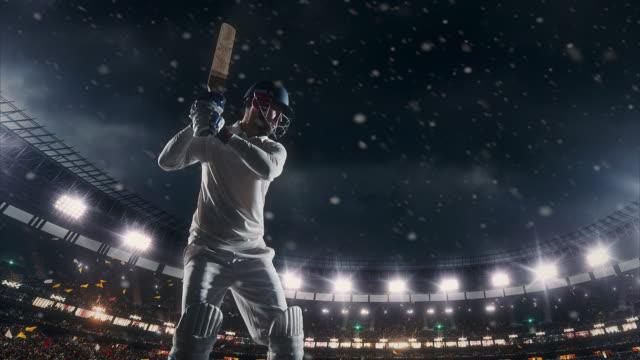 Batteur de cricket sur le stade - Vidéo