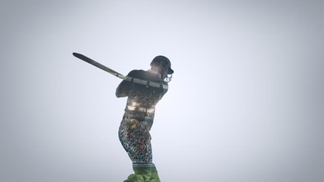 Cricketspieler in Aktion auf einem professionellen Cricket-Stadion – Video