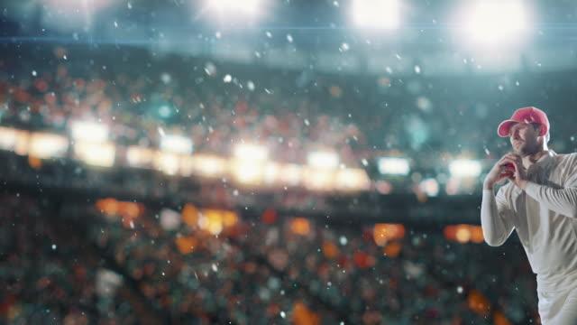 vídeos y material grabado en eventos de stock de jugador de cricket en el estadio de cricket profesional - críquet