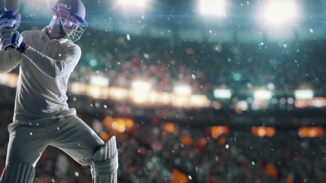 Cricketspieler auf die professionelle Cricket-Stadion – Video