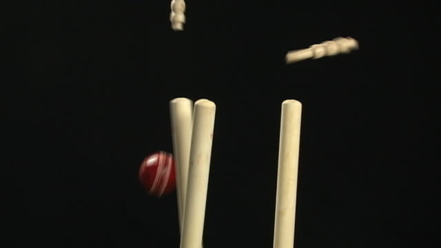 stumps Wickets de críquete, sendo bowled com bola (Esporte - vídeo