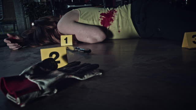 4K Crime Scene Camera Moving around Evidences and Dead Body Inspired from horror movies crime scene stock videos & royalty-free footage