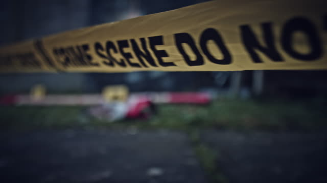 4K Crime Scene with Evidence Do Not Cross Close-up Inspired from horror movies crime scene stock videos & royalty-free footage