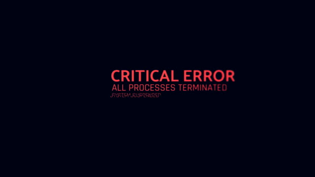 critical error message flashing on screen, computer malfunction, hacking attack - spyware video stock e b–roll