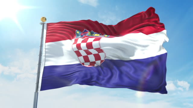 Croatia flag waving in the wind against deep blue sky. National theme, international concept. 3D Render Seamless Loop 4K Croatia flag waving in the wind against deep blue sky. National theme, international concept. 3D Render Seamless Loop 4K allegory painting stock videos & royalty-free footage