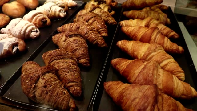 Croissants on display at bakery
