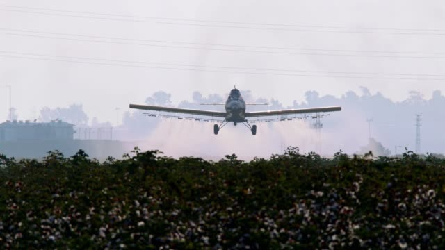 crop duster spraying chemicals over a cotton field - slow motion - insetticida video stock e b–roll