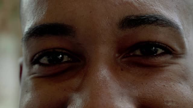 Cropped shot of brown male eyes looking at camera Cropped shot of brown male eyes looking at camera. Close-up partial view of happy young African American man looking at camera. Emotion concept ear stock videos & royalty-free footage