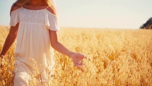 beskuren syn på flicka i vit klänning som går i vetefält - endast flickor bildbanksvideor och videomaterial från bakom kulisserna