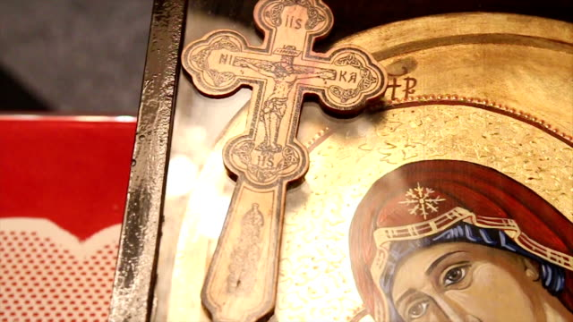 Cross and Icon of Mother of God video