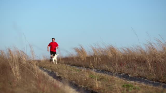 stockvideo's en b-roll-footage met cross country running - alleen één mid volwassen man