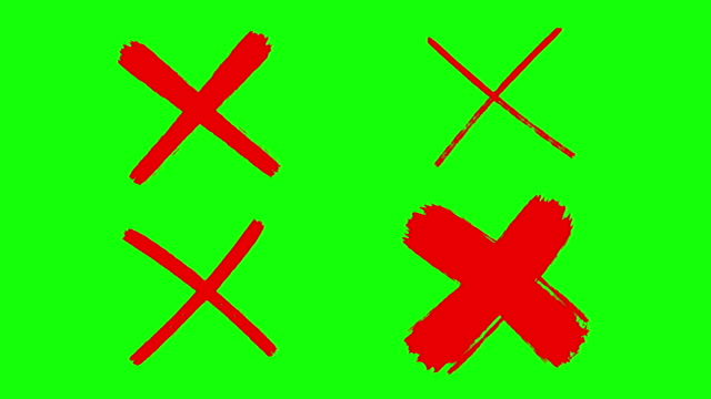 Cross mark, X mark, drawing, green screen 4 different styles