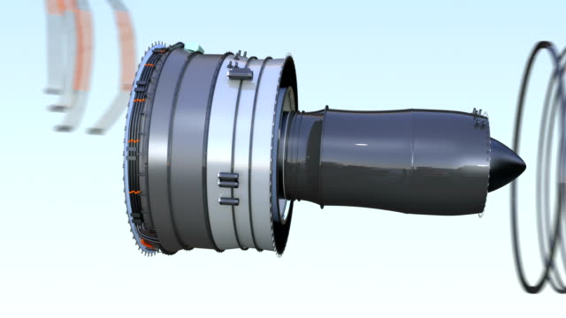 Cross section of turbofan jet engine with alpha channel Cross section of turbofan jet engine with alpha channel. 3D rendering animation. vehicle part stock videos & royalty-free footage