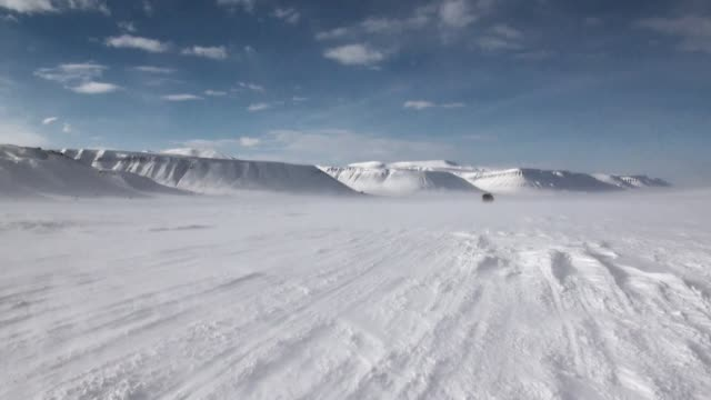 Cross-country vehicle in North Pole Spitsbergen Svalbard Arctic. video