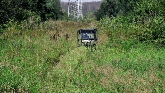 Cross-country vehicle in the bushes video