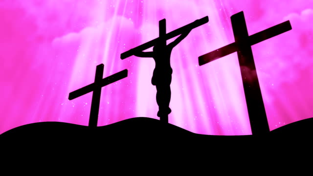 3 Crosses Christ Worship Pink Loopable Background video
