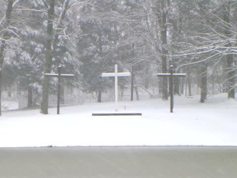 Crosses in Snow Zoom Out (HD_link_below) video