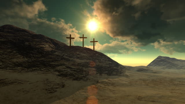 crosses on calvary hill - christianity stock videos & royalty-free footage