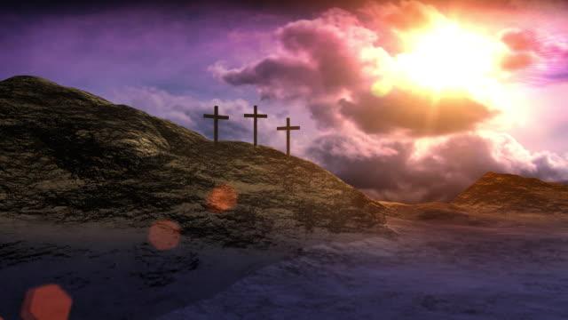 vídeos de stock e filmes b-roll de cruzes na encruzilhada de caminhos - cristo redentor