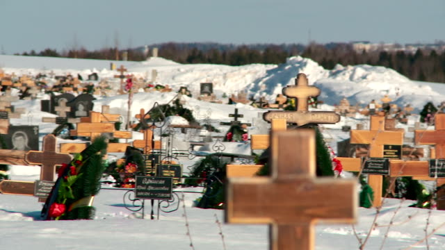 crosses to the winter cemetery