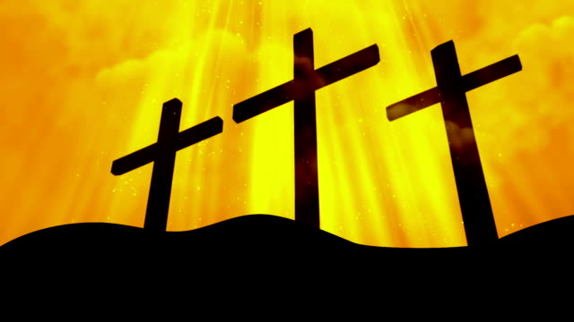 3 Crosses Worship Yellow Loopable Background video