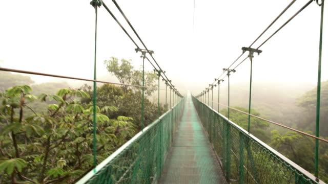 POV Crossing a hanging footbridge in rainforest video