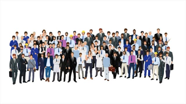 croud of people appearing on white background. - icons стоковые видео и кадры b-roll