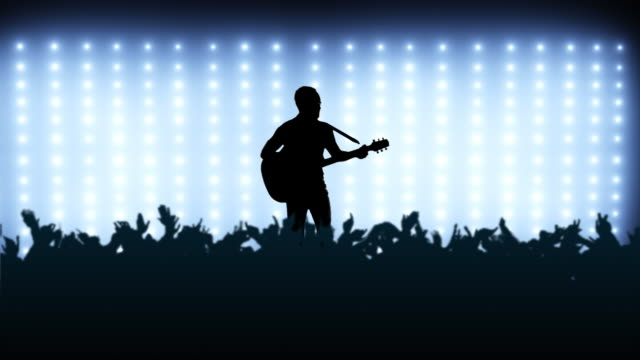 Crowd at concert with guitarist video