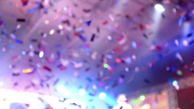 Crowd enjoying confetti and party at the festival. Crowd enjoying confetti and party at the festival event stock videos & royalty-free footage