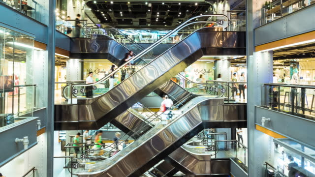 crowd in shopping mall,timelapse - escalator video stock e b–roll