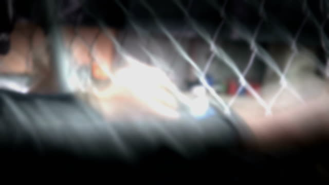 crowd of people aggressively attacking metal wire fence - ribellione video stock e b–roll