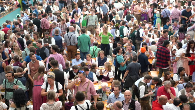 Crowd of people celebrating in Beer Tent at Oktoberfest in Munich, Germany Crowd of people walking at the Wiesn on Oktoberfest in Munich carnival celebration event stock videos & royalty-free footage